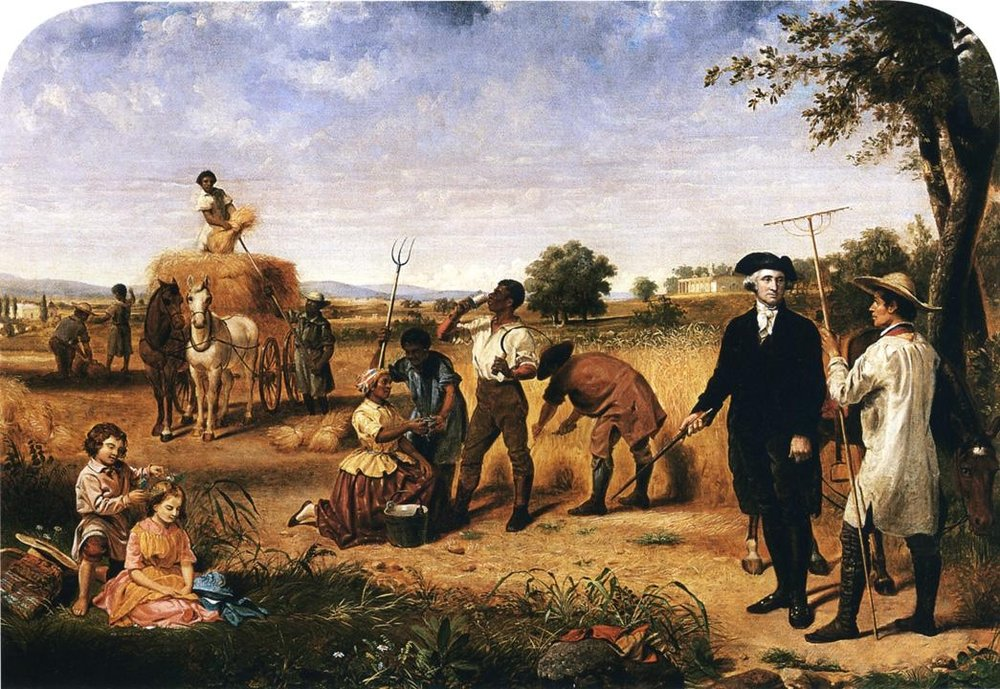 Washington as Farmer at Mount Vernon  by Julius Brutus Stearns, 1851. But did Washington's activity on his Mount Vernon estate include excessive drug or alcohol consumption?