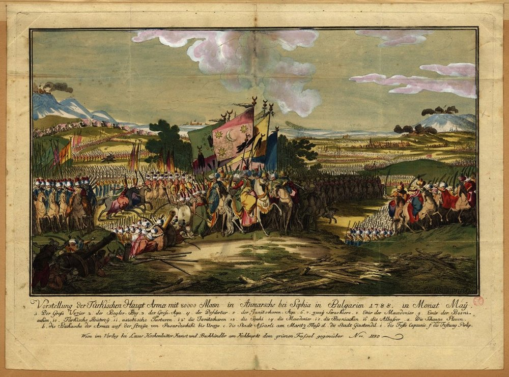 An image from the Austro-Turkish War (1788-1791). Here the Ottoman army is advancing towards Sofia, Bulgaria.