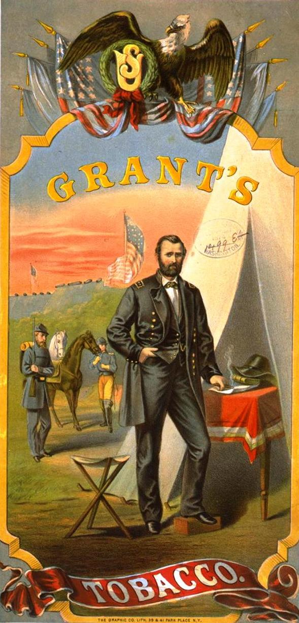 Ulysses S. Grant on a cover of Grant's Tobacco.