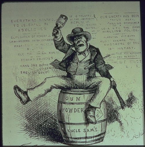 An American anti-Irish cartoon, The Usual Irish Way of Doing Things, by Thomas Nast from Harper's Weekly in 1871.