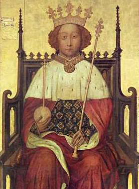 King Richard II of England (1367-1400) holding an orb and scepter for his coronation nearly a century before Christopher Columbus made his famous sail across the ocean blue.