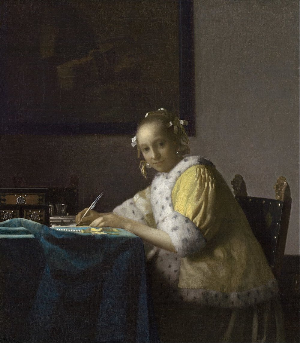 Writing in History... A Lady Writing by Johannes Vermeer, 1660s.