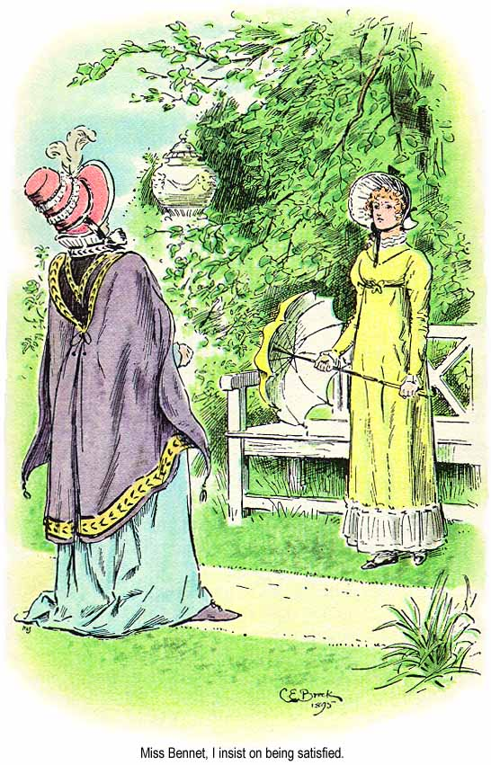 Lady Catherine and Elizabeth from the novel  Pride & Prejudice . Image from the 1895 edition of the novel.