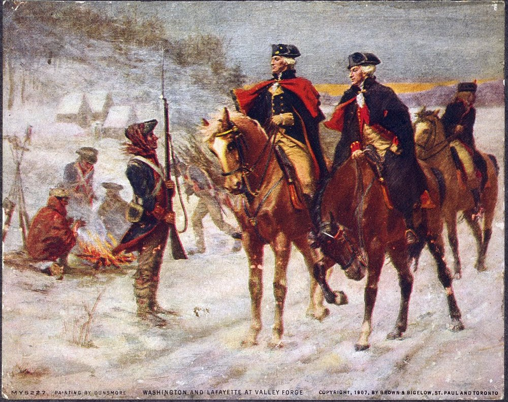 George Washington and the Marquis de Lafayette at Valley Forge. By John Ward Dunsmore, 1907.