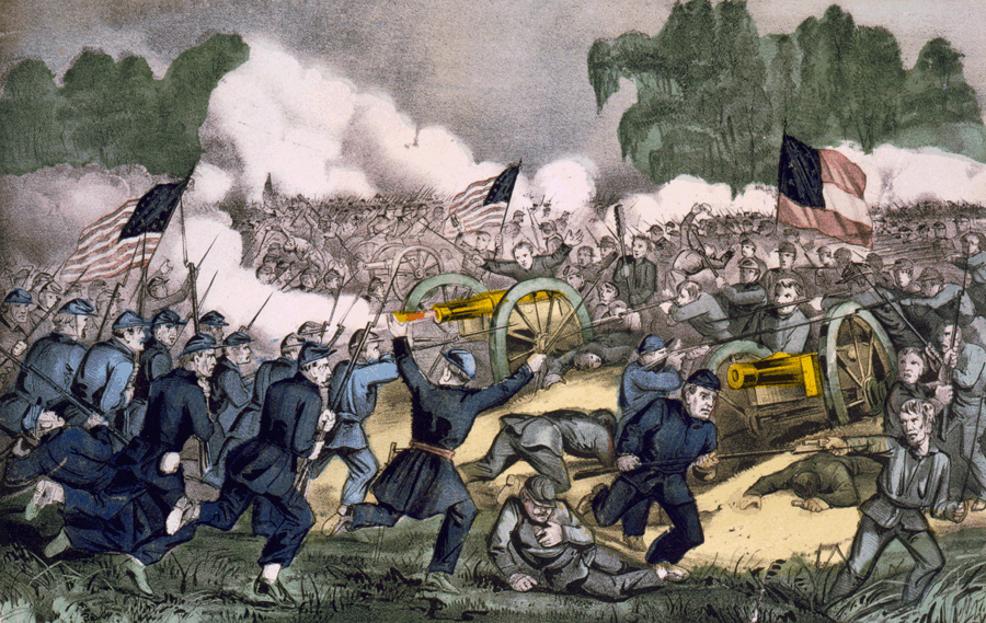A depiction of the 1863 Battle of Gettysburg. Hand-colored lithograph by Currier and Ives.