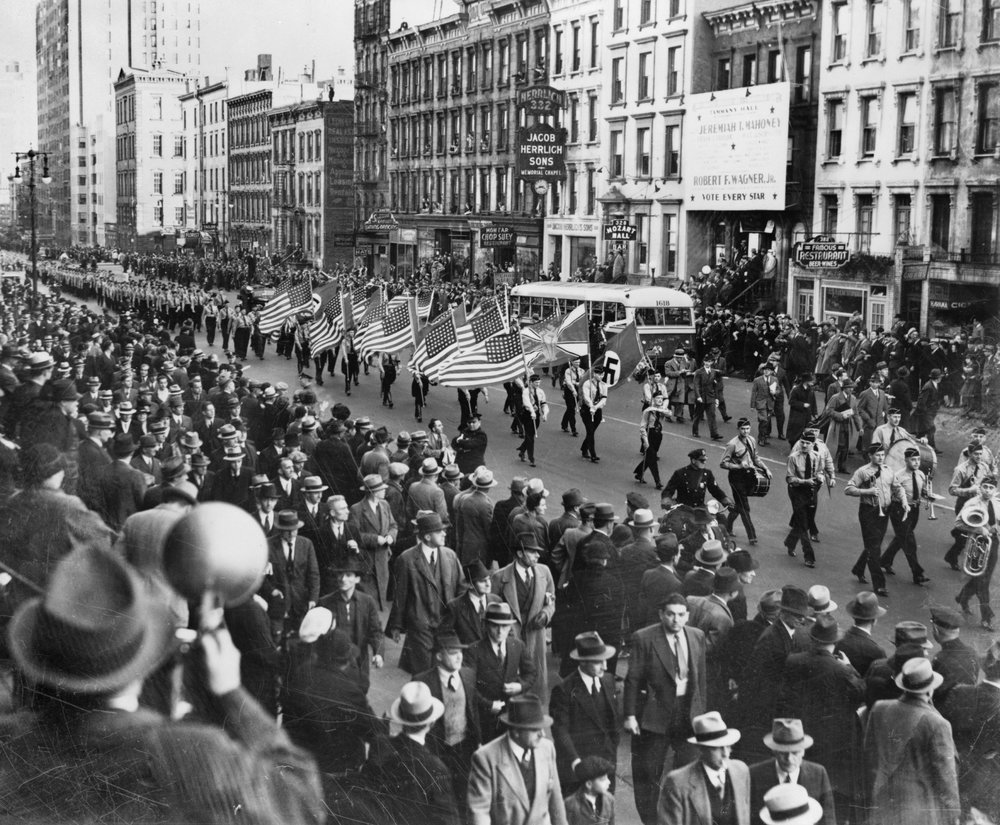 A German-American Bund Parade in New York City in 1939. The group had links with Hitler's Nazis.