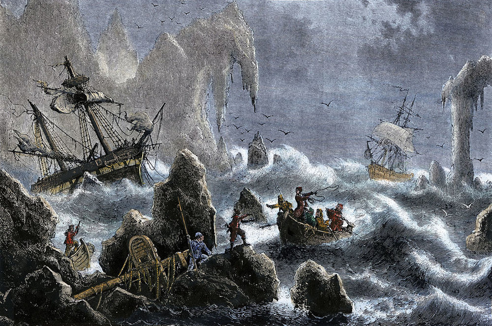 A depiction of the wreckage of Vitus Bering's 1741 expedition in the Aleutian Islands .