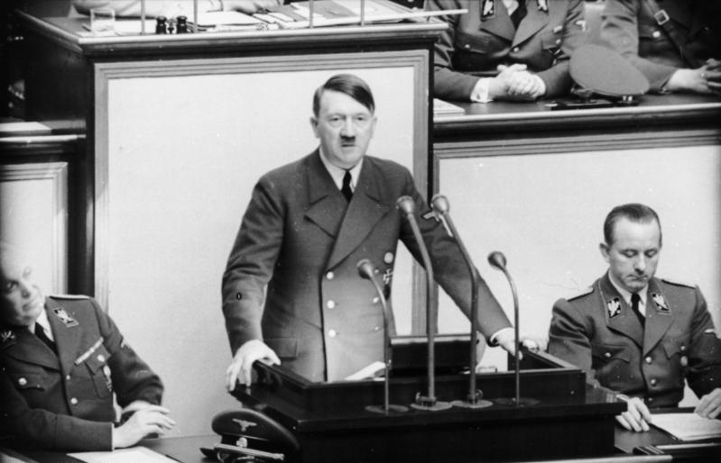 Adolf Hitler addressing the German Parliament in May 1941. Source: Bundesarchiv, Bild 101I-808-1238-05 / CC-BY-SA 3.0. Available  here