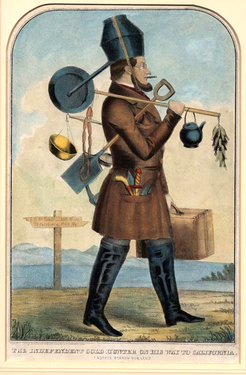 An Independent gold hunter on his way to California, circa 1850. California's gold helped to fund military activities during the US Civil War.