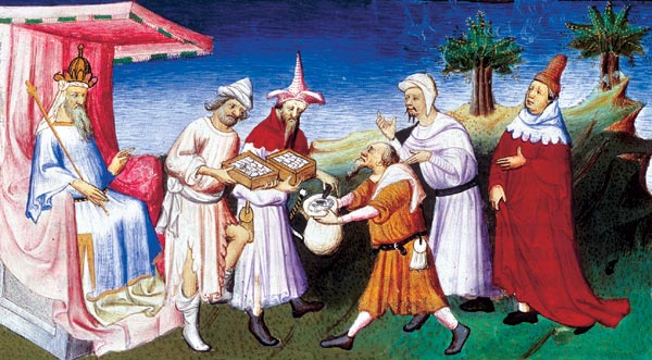 Kublai Khan meeting Marco Polo and his family. Painting by the Master of Busico, dated to 1412.