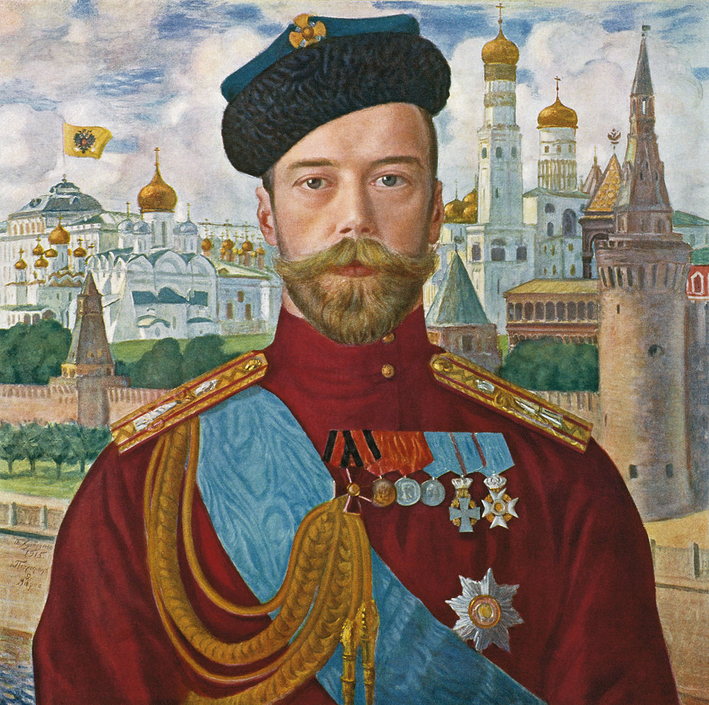 A 1915 painting of Tsar Nicholas II of Russia by Boris Kustodiev.