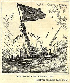 A drawing depicting the Steel Strike of 1919. From New York World, October 11, 1919.
