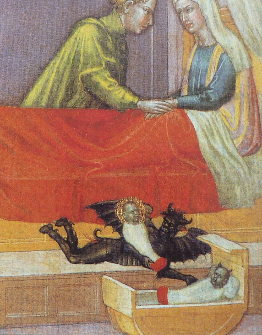 The devil swapping a baby. Artist: Martino di Bartolomeo, 15th century.