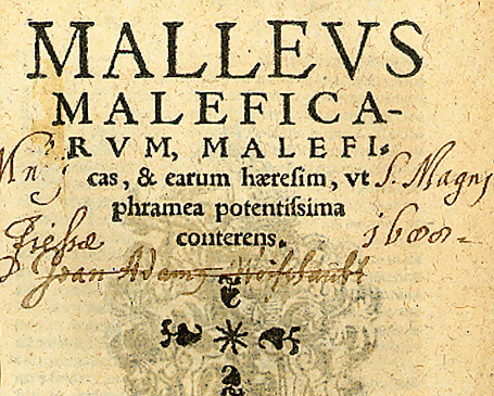 The cover of 1 1520 edition of the  Malleus Maleficarum .