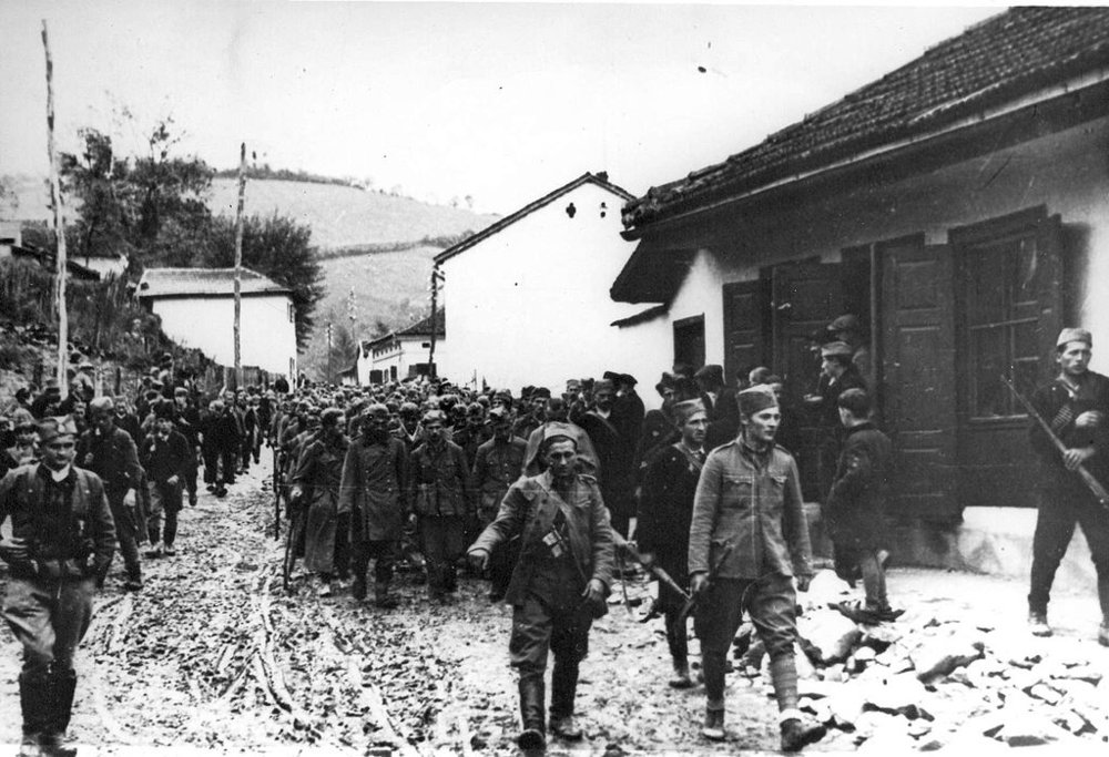 Captured German soldiers in Uzice, 1941.