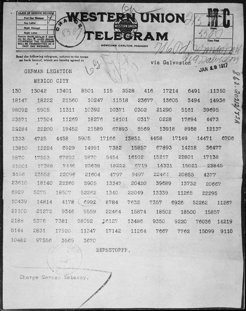 The Zimmermann Telegram.