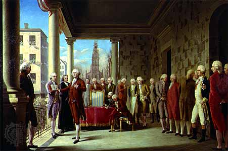 George Washington's inauguration for his first term as president on April 30, 1789.