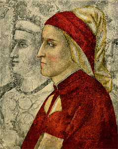 Dante Alighieri, by Giotto di Bondone. The work of art is in the chapel of Bargello Palace. 14th century.