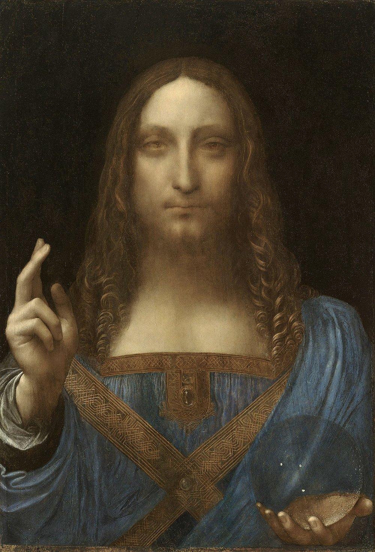 Leonardo da Vinci. Painting by Salvator Mundi, c. 150..