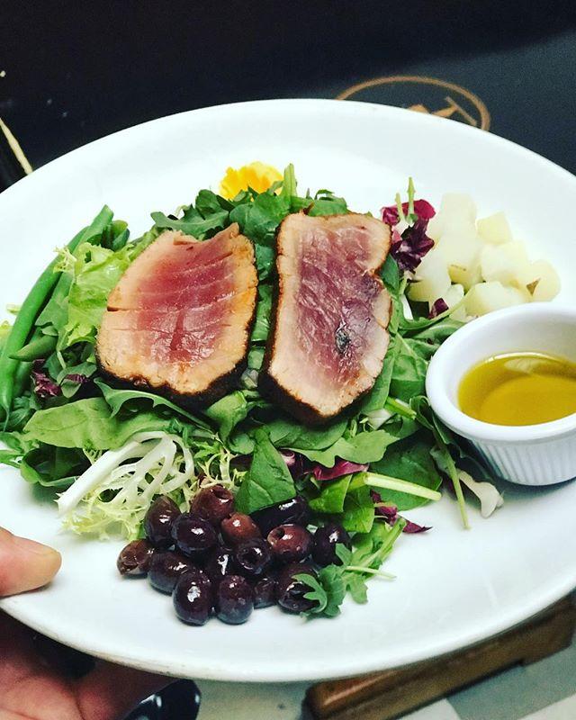 Salade Niçoise - #sashimi style Ahi, haricot verts, potato, egg, niçoise olives. #tuna