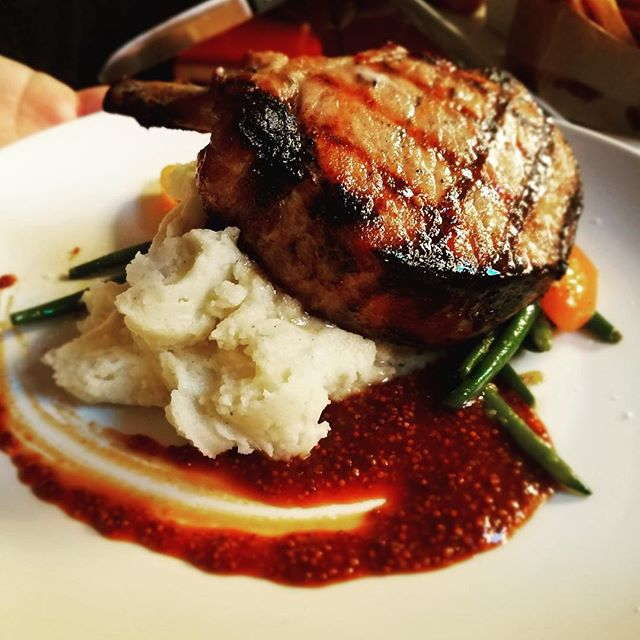 #Berkshire #pork #chop - center cut w/ #mashedpotatoes & #bourbon #mustard #reduction