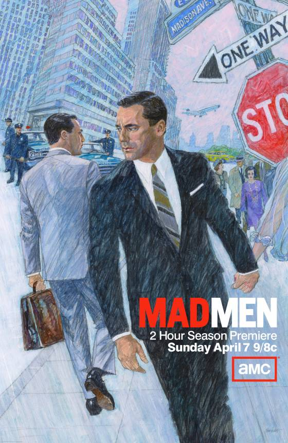 According to Vulture, the 75-year old veteran ad illustrator Brian Sanders was tapped to developed promo assets for season six of Mad Men. Sanders previously worked with Kubrick on 2001 and John Steinbeck, among many others. Pretty rad.