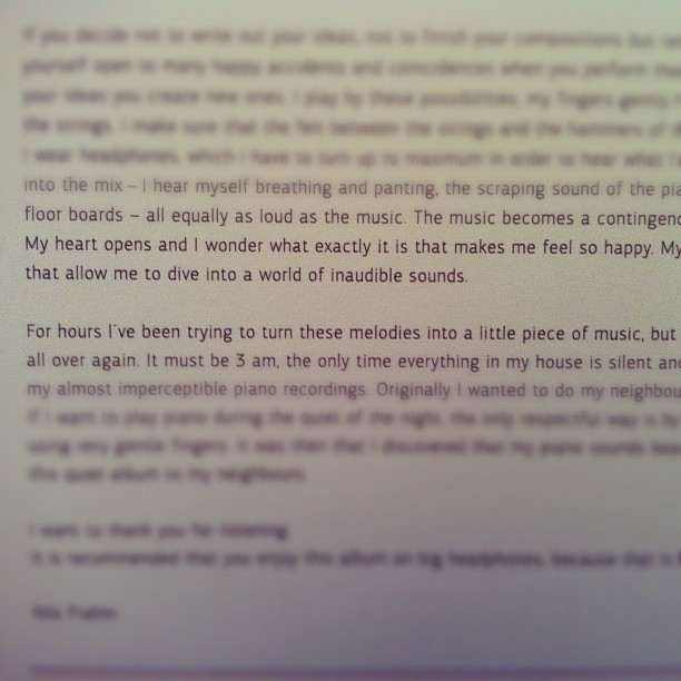 Letter from Nils Frahm to listeners of Felt (Taken with Instagram at East Nashville)