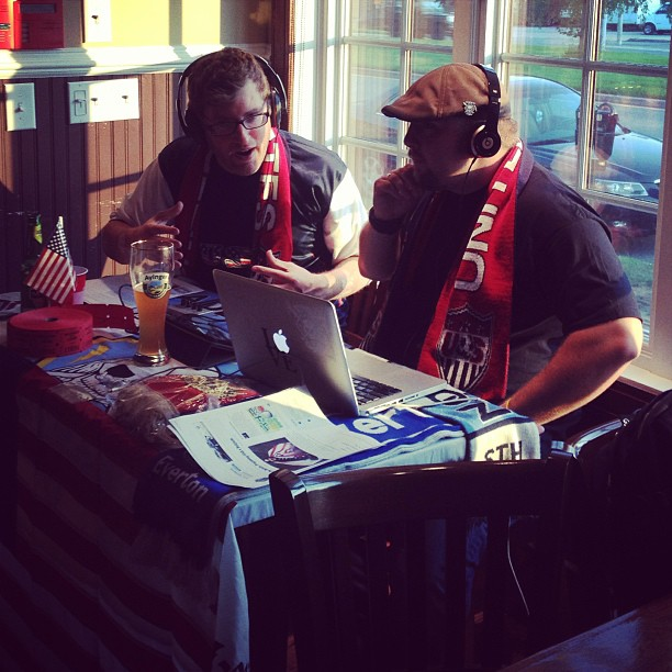 Brian on the left while recording The Soccer Desk Podcast at The Greeks Next Door in Narberth, PA