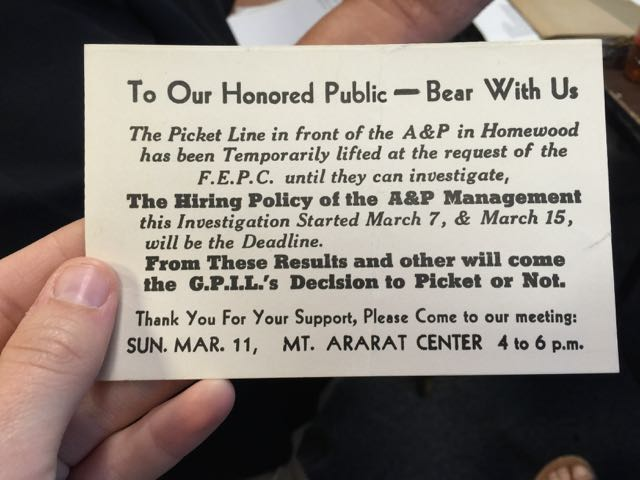 Information card about a protest