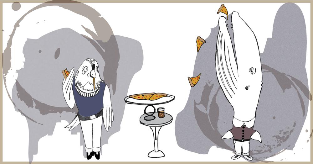 Whale Girl + Bird Girl Eat Pizza
