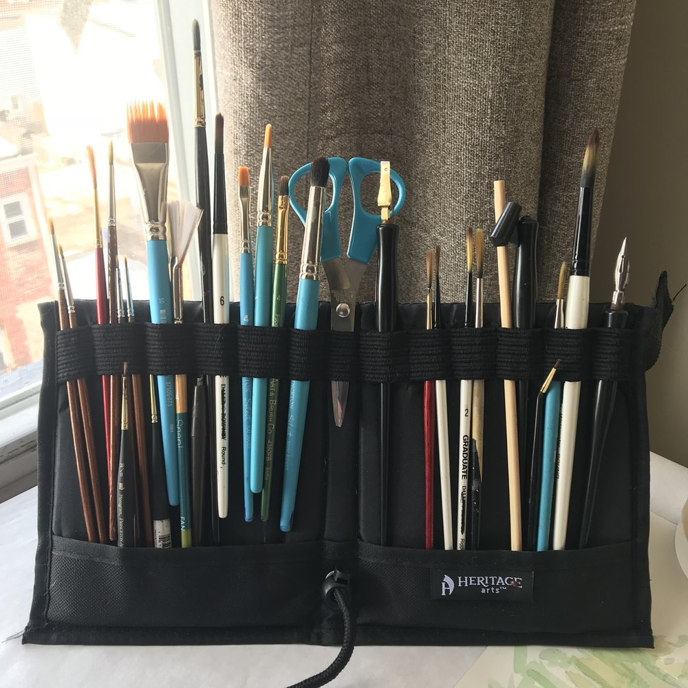 foldable paint brush holder