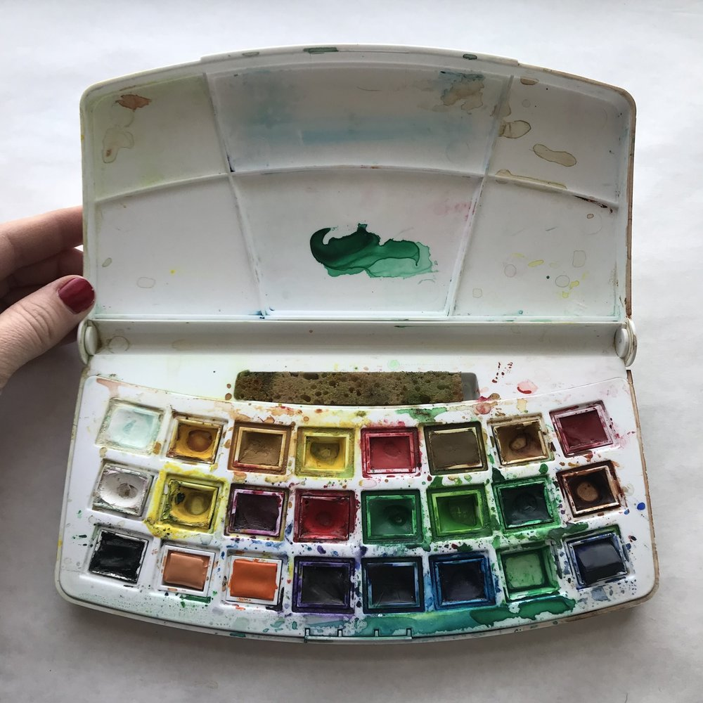 24 pan watercolor box w sponge