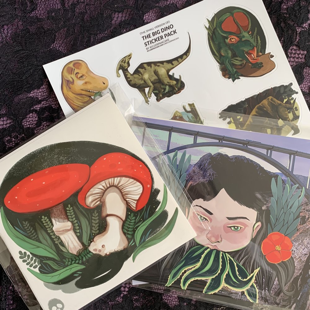 Buy Two Prints, Get a Dinosaur Sticker Sheet ($30)