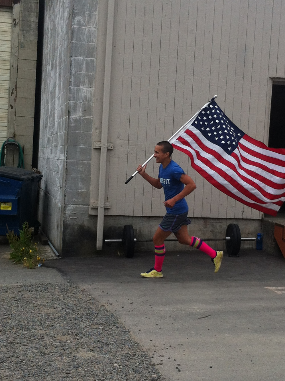 Holly carried the flag not only the entire WOD, she ran with it for the 2nd class too.