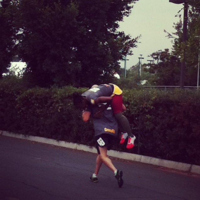 A Team during the 2.1 mile run, one team had to carry a teammate the whole way due to her injury