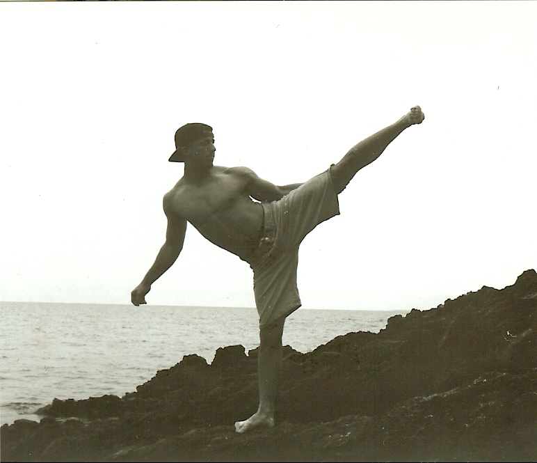 Ron side kick in Okinawa Japan.  Photo taken by Candy Osborne