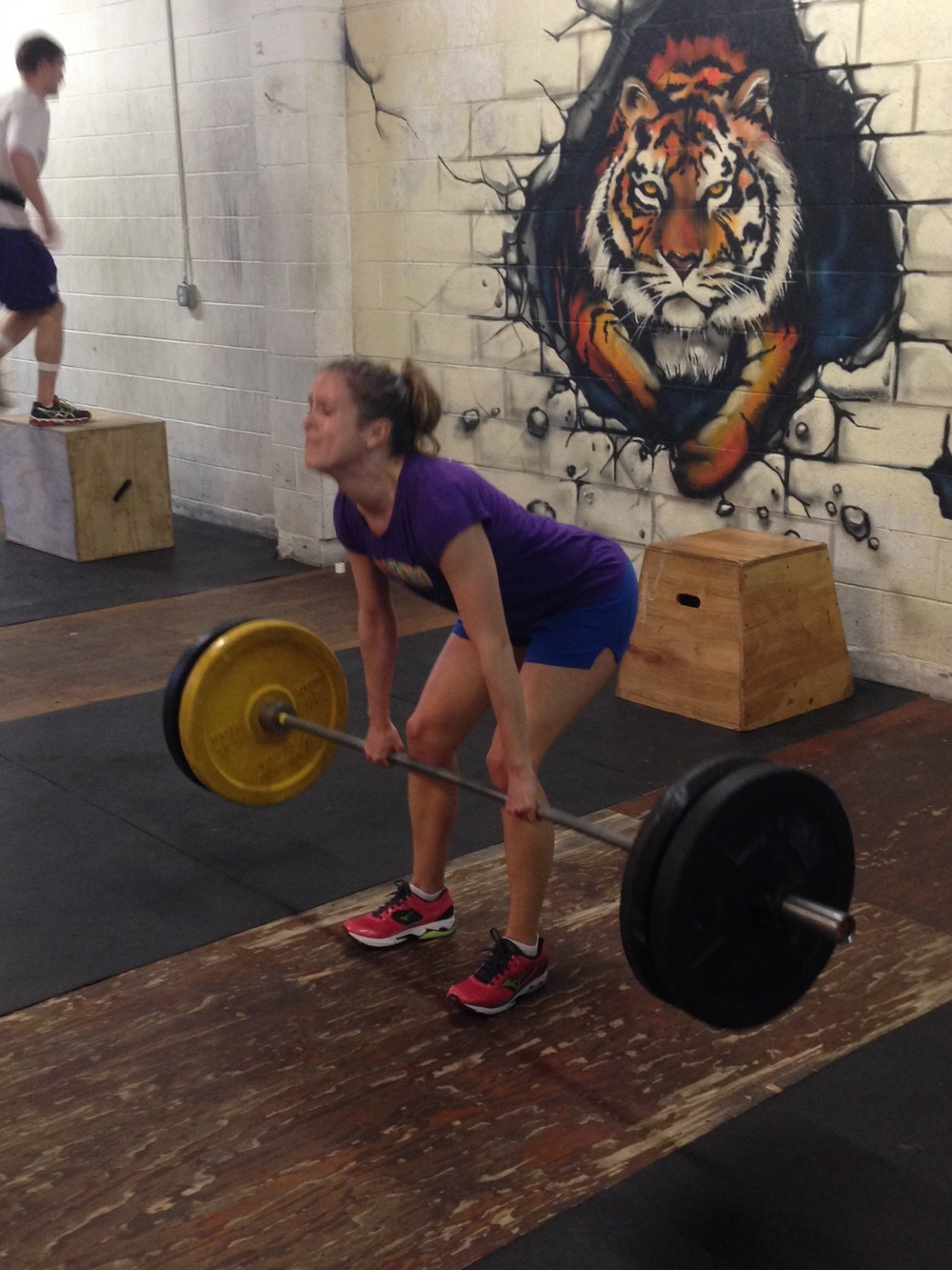 The first rep was a 15 pound PR for Alicia so she decided to do 8 more in 14.3. Great work!!!!