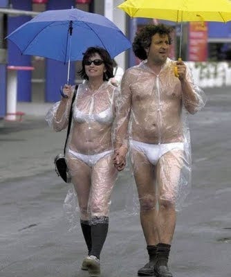Couple with seethrough rain outfits and tighty whities are unacceptable......seriously tighty whities