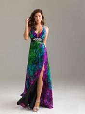 Sexy colorful gown with a hint of leg, acceptable