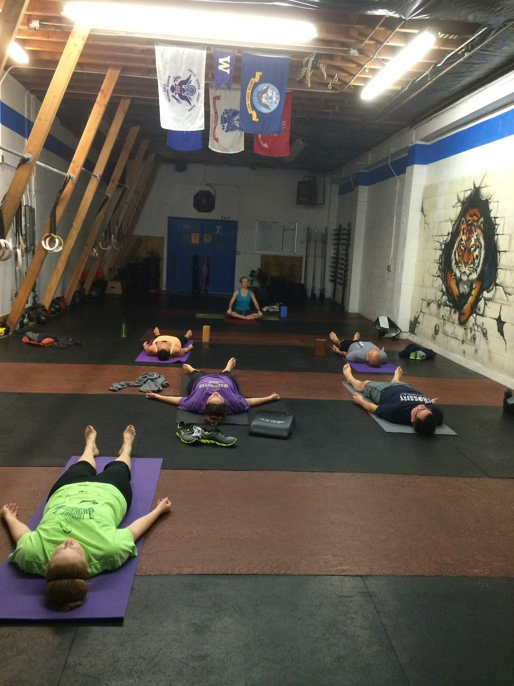 Amandas yoga class is committed and looking good