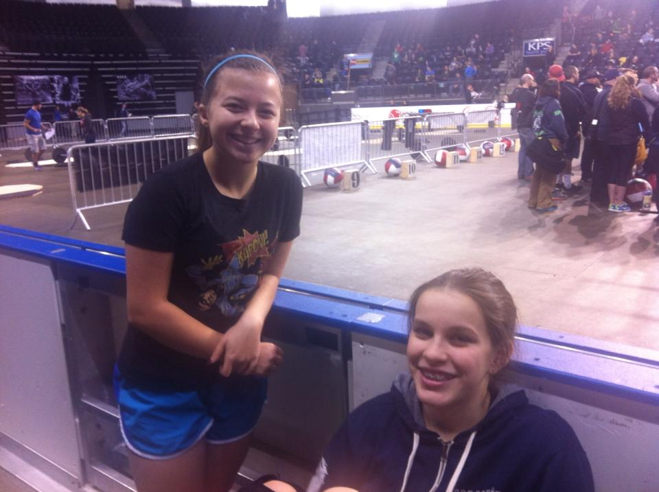 Taryn and Marissa in between workouts at the Gorilla Games