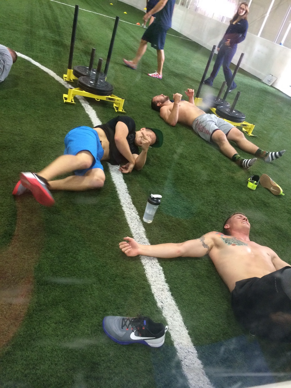 Tanner, Travis and other competitors post Push-Sled workout