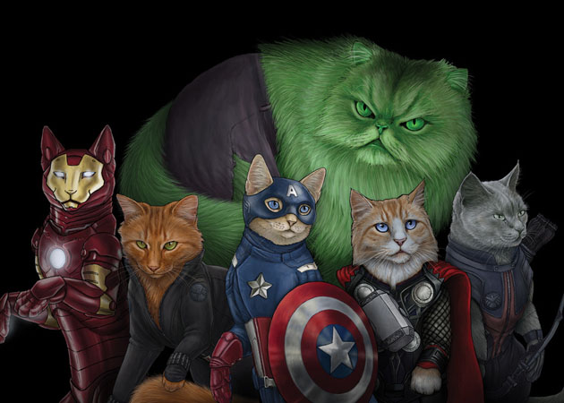 I like Superheroes and I like cats.  Boom, SUPERHERO CATS!!! I want a velvet painting of this.