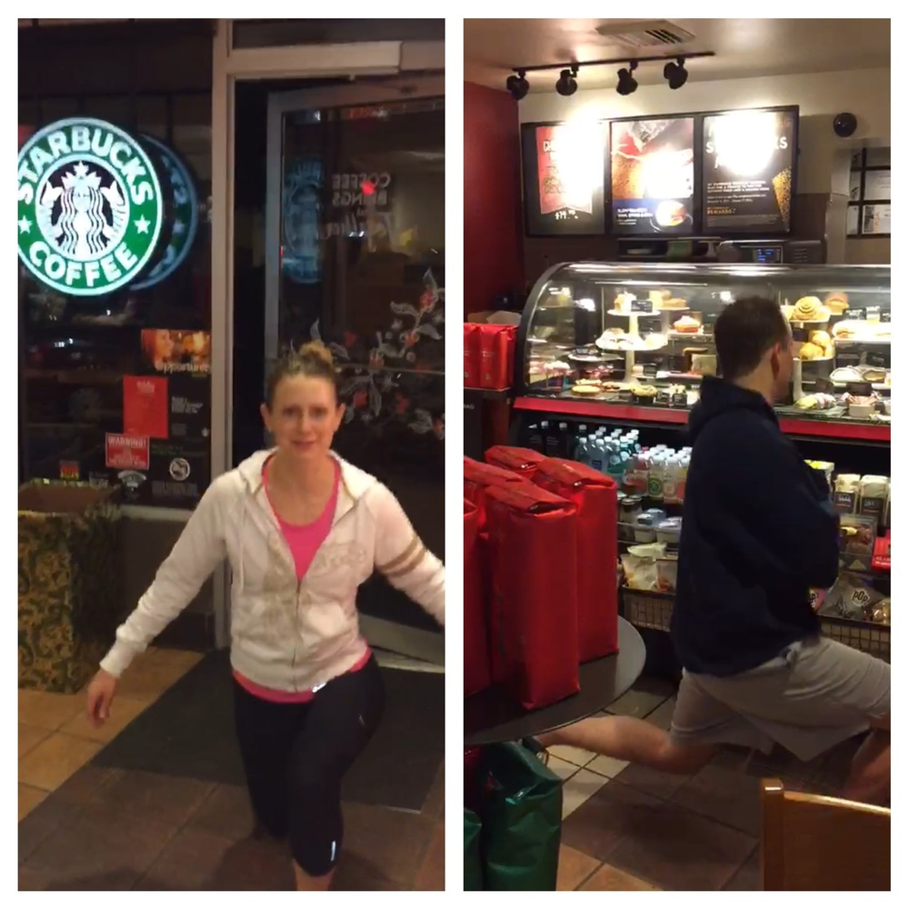Here they are doing their lunges in Starbucks and ordering their holiday drink.