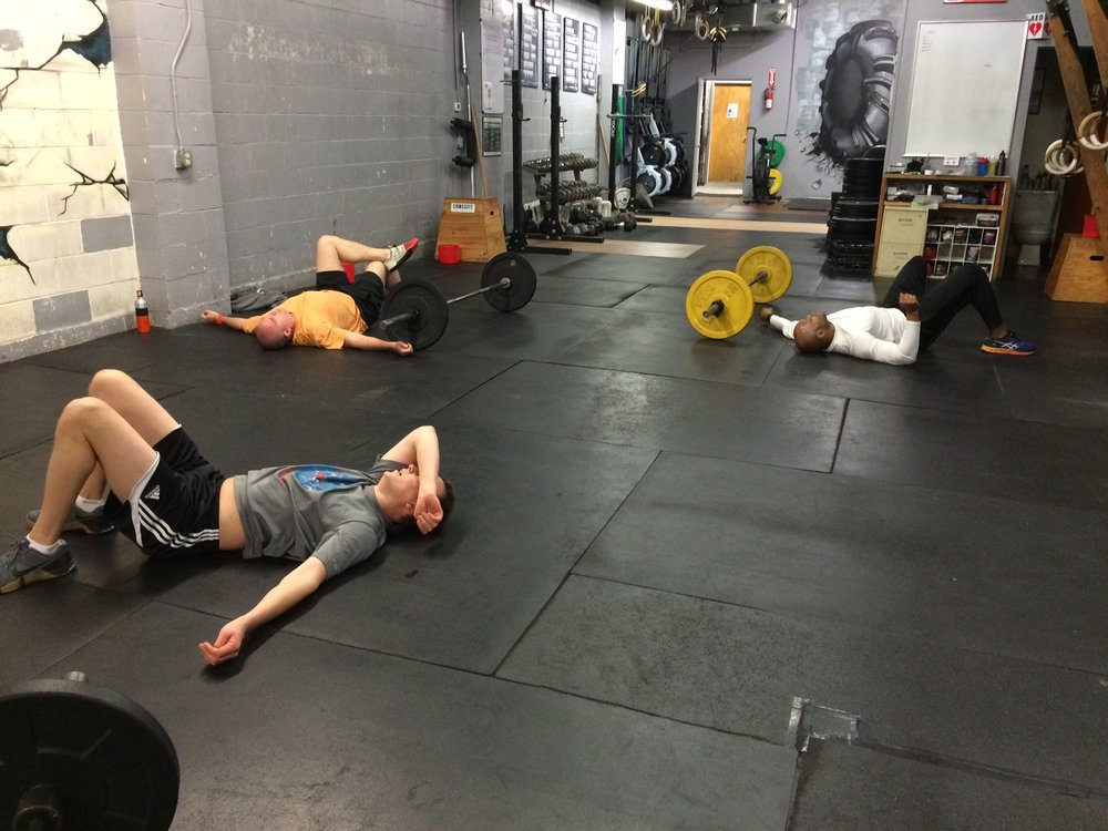 Monday 5:15am class showing their love for the Monday WOD