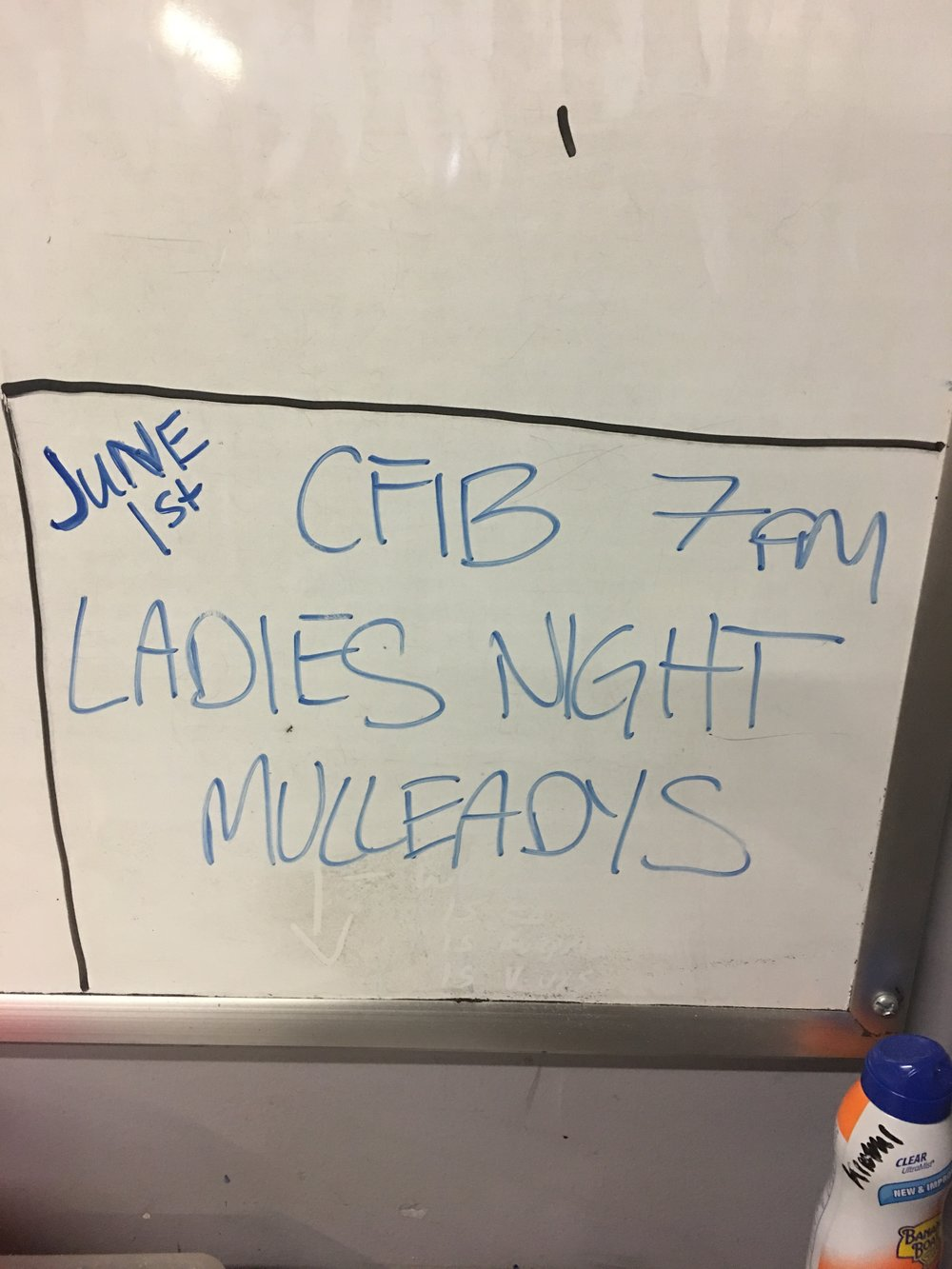 Don't forget CFIB Ladies night at 7pm Mulleady's