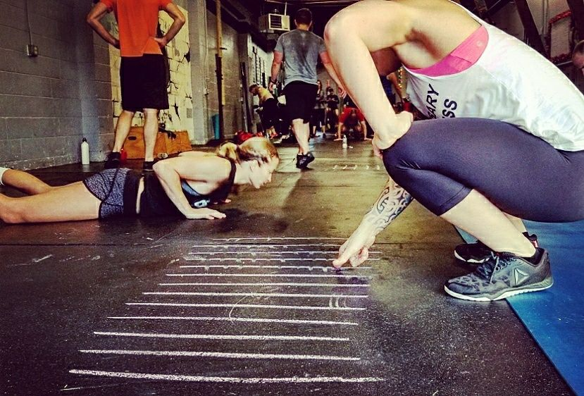 Chalk chalk and more chalk to track all the burpees