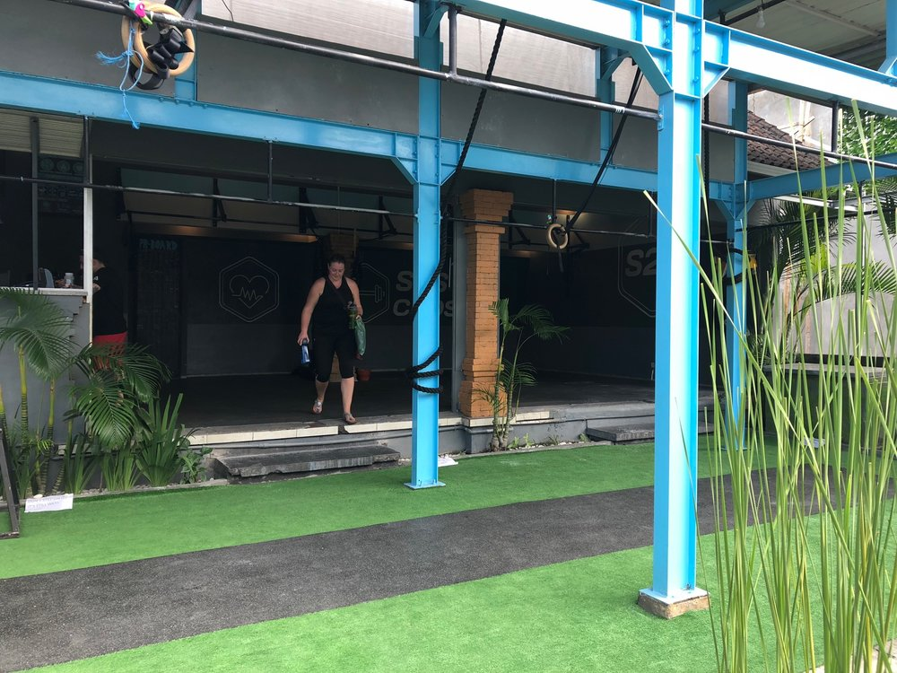 Audra J. dropping into an open air CrossFit gym in Bali while on vacation :)