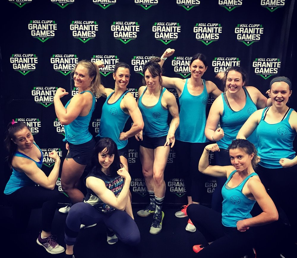 CFIB ladies showing off their guns at The Granite Games Showdown hosted by RCF Renton CrossFit this last weekend.