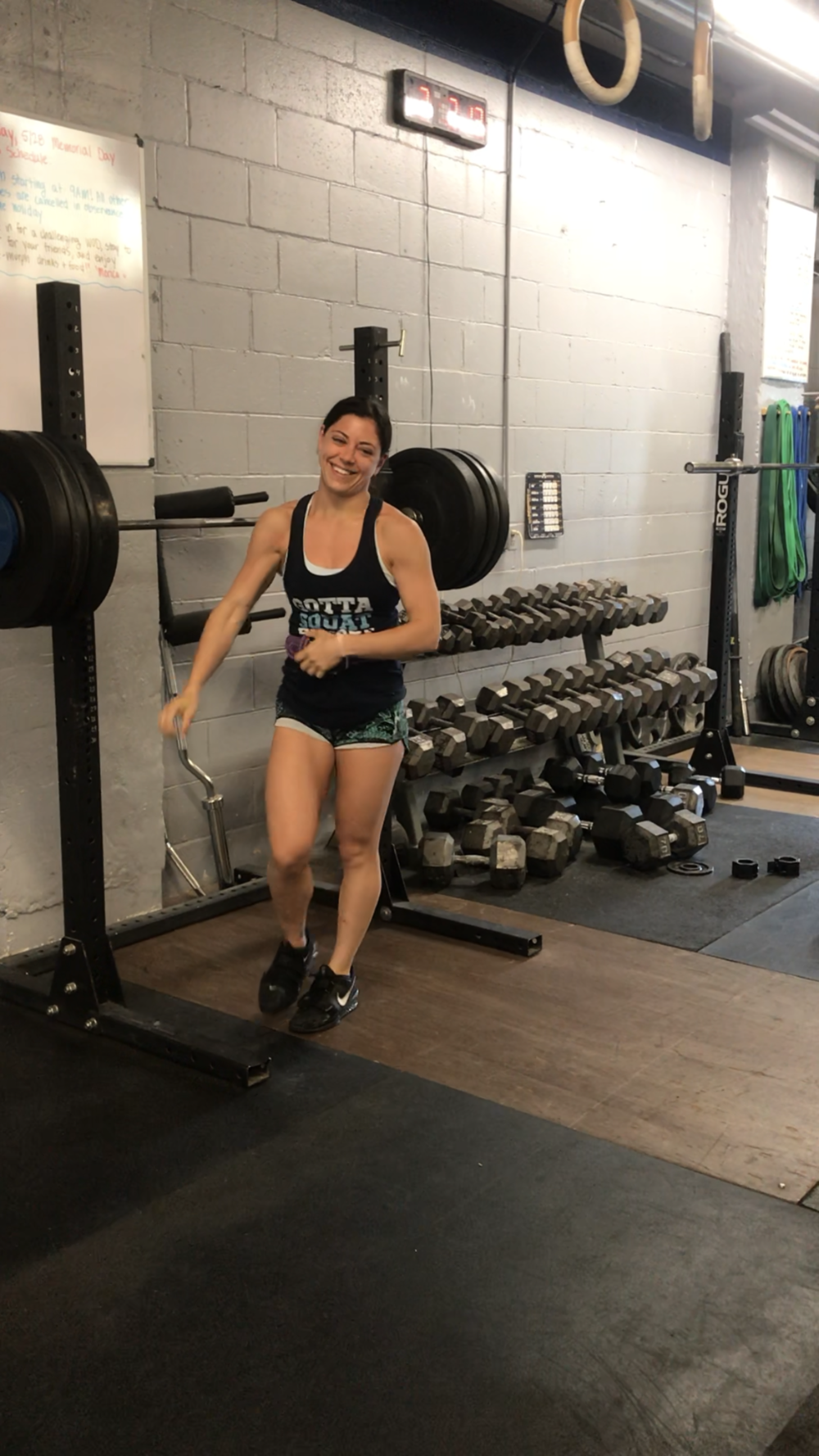 Jackie A. with a front squat PR...the smile says it all :)